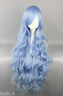 Cheap Blue Wigs (New Cheap 80cm Long Four is the Department of Wavy Anime Fashion Cosplay Wig)