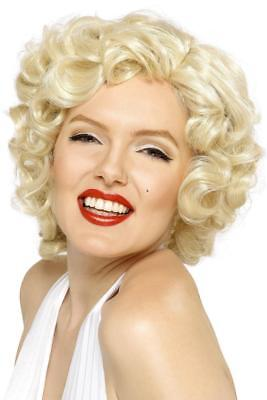 LADIES MARILYN MONROE BOMBSHELL WIG SHORT BLONDE CURLY ADULTS 1950'S FANCY - Blonde Bombshell Kostüm