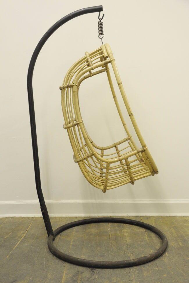 Original Vintage 1960u0027s/ 70u0027s Rattan U0026 Bamboo Hanging Egg Chair