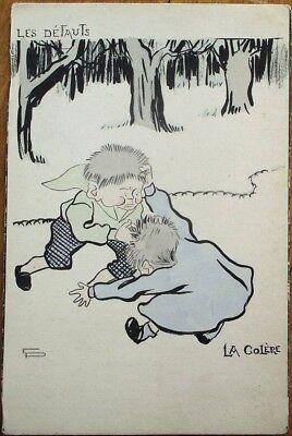 Children Fighting 1902 EP/Artist-Signed Postcard, 'Les Defauts, La Colere'