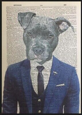 Staffordshire Bull Terrier Dictionary Print Art Picture Print Staffy Suit Dog Bull Terrier Tapestry