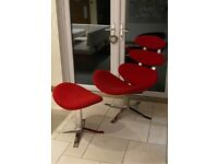 POUL VOLTHER CORONA CHAIR AND FOOTSTOOL REPLICA