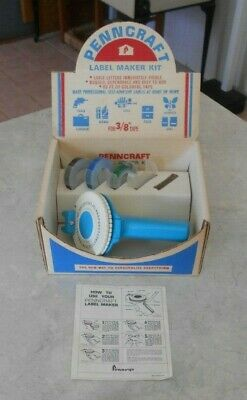 Vintage Penneys Penncraft Blue Tapewriter Label Maker 70s Instructions  Box