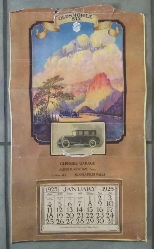 1925 OLDSMOBILE CALENDAR GLENSIDE GARAGE SKANEATELES FALLS NY PAUL SPENER JOHST