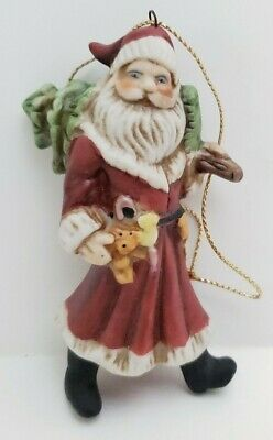 Adorable Vintage Ceramic Santa with Toys & Tree Christmas Ornament