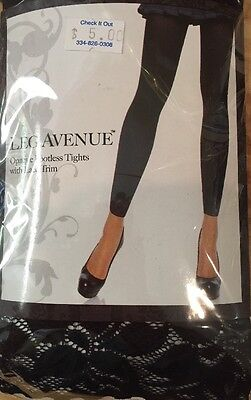- Opaque Footless Tights With Lace Trim  One Size Black