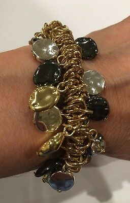 SAKS FIFTH AVENUE Gold,Silver & Hematite Tone Stretch Bracelet-RV $34.99-NWT! ()