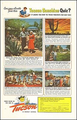 1951 vintage travel AD TUCSON Arizona , Tucson Sunshine Climate Club 072617