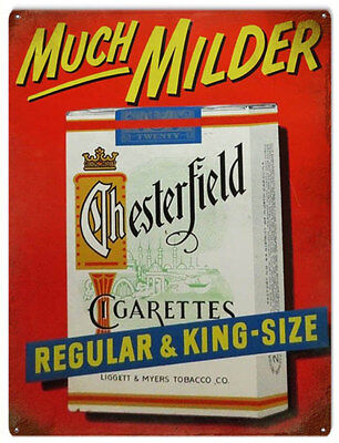 Much Milder Chesterfield Cigarettes Regular and King Tobacco Bar Sign