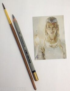 Galadriel Lord of the Rings Cate Blanchett Original ACEO Art Card Gary Rudisill