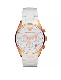 NEW Emporio Armani AR5920 Womens rose gold White Chronograph watch With Gift Bag