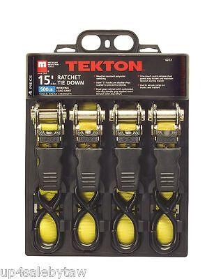 TEKTON 6223 15-Foot by 1-Inch Premium Ratchet Tie Downs, 4-Piece