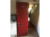Retro Swan dark red fridge freezer