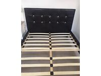 BLACK LEATHER DOUBLE BED FRAME DIAMONTE HEADBOARD
