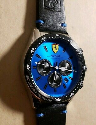 Ferrari Pilota Watch with 45mm Blue Chronograph Face & Black Leather Band