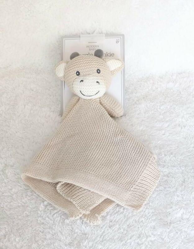 "Modern Baby Snuggle Blankie Beige Knit Cow Lovey Security Blanket 14"" x 14"" NEW"