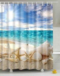 Beach Starfish Bathroom Shower Curtain Fabric Polyester 12 Hooks Ocean Blue  Sky