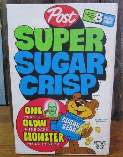 1976 Super Sugar Crisp Cereal Box REPRODUCTION Glow Monsters Head Frankenstein
