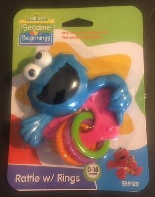 Sesame Street Beginnings Cookie Monster Baby Rattle with Rings (BPA Free) (Sesame Ring)