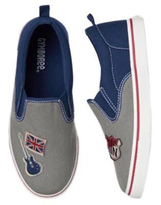 nwots sz 9 Kid Boy London Rocker Canvas Slip on Sneakers Shoes Gymboree