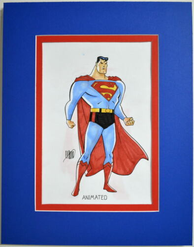 Animated SUPERMAN Full Color Original Art by Anthony Castillo Pro Matted
