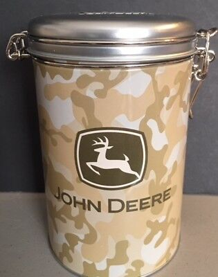 John Deere Tin Lock Top Canister Container g8t for candy nuts collectible tan