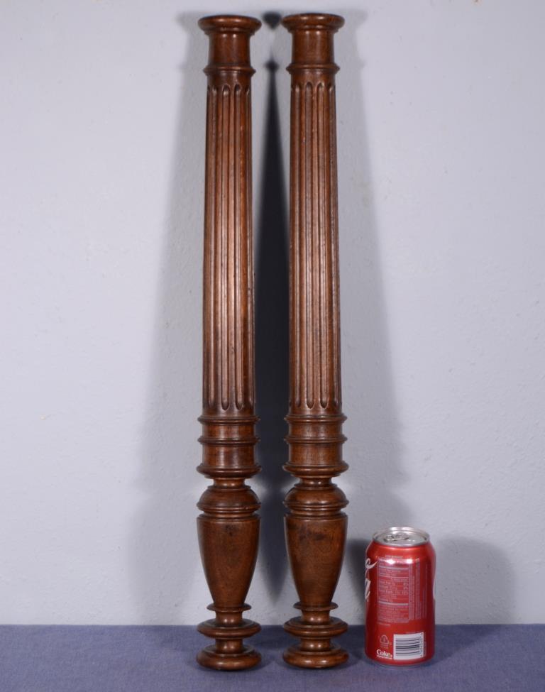 "Pair of 23"" Antique Walnut Wood Baluster Posts, Pillars or Columns"