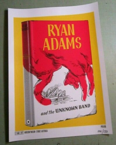 Ryan Adams and the Unknown Band 2017 Sydney Australia Numbered Concert Poster