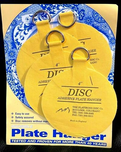 """Flatirons 4"""" Disc Adhesive Plate Hanger Set Made in England for plates up to 12"""""""