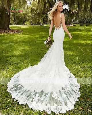 NEW Mermaid White/Ivory Lace Wedding Dress Bridal Gown Custom Size 6 8 10 12 14+