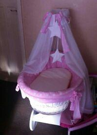 Pink Moses basket