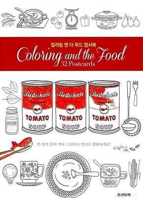 COLORING AND THE FOOD 32 Postcards 68 Pages Book