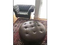 Large 100cm Diameter Circular Modern Ottoman Footstool Pouffe Seat - Brown Leather, Wooden Feet
