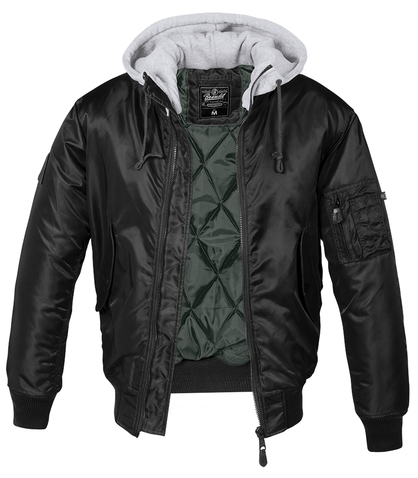 8785c2159 Details about Brandit Jacket Ma1 Bomber Hooded Ma-1 D-Tec Style M65 Flight  Blouson