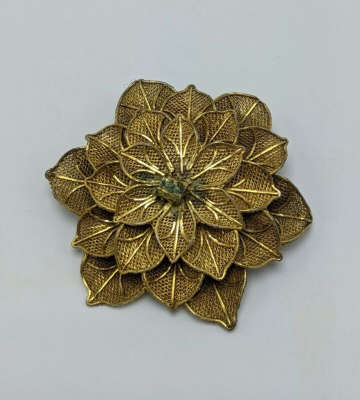 Vintage Chinese Export Gold Wash Mesh Filigree 3-D Flower Pin Brooch