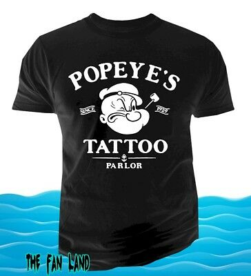 New Popeye The Sailor Man Tattoo Parlor Mens Guns Vintage T Shirt