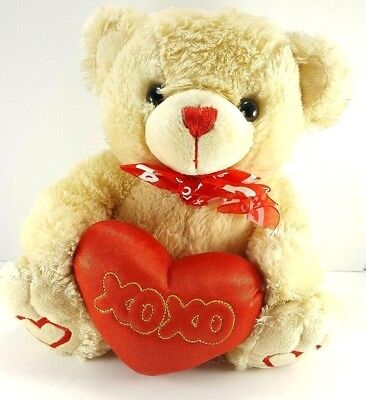 Valentine Tan XOXO Red Teddy Bear Heart Paws Plush Stuffed Animal 13