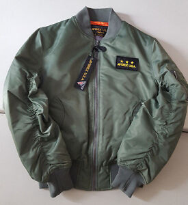 AVIREX U.S.A SAGE MILITARY GREEN NYLON FLIGHT BOMBER JACKET STYLE ...