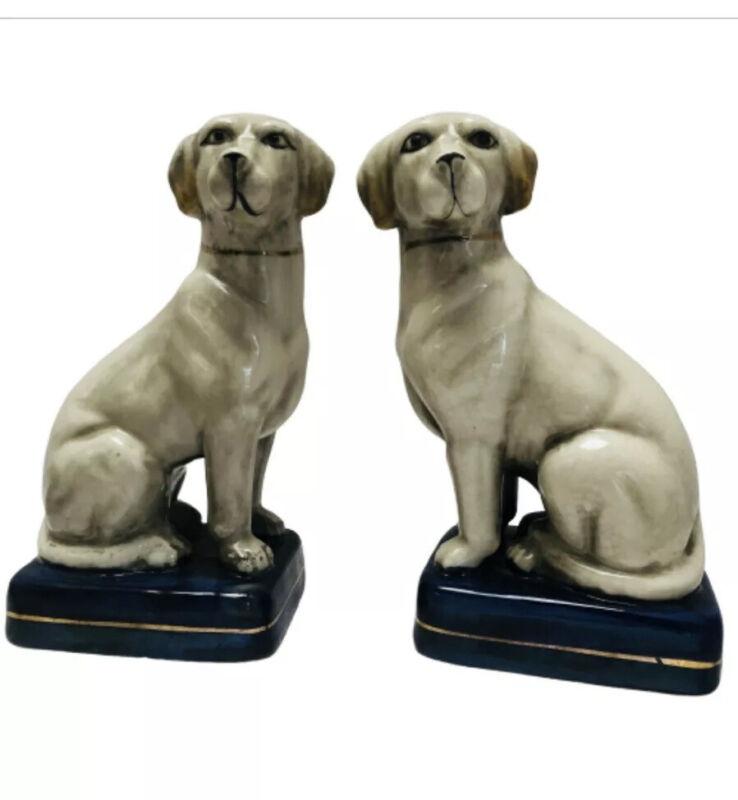 Pair Porcelain Dogs Retrievers Statues Fireplace Hearth Set Porcelain Pottery