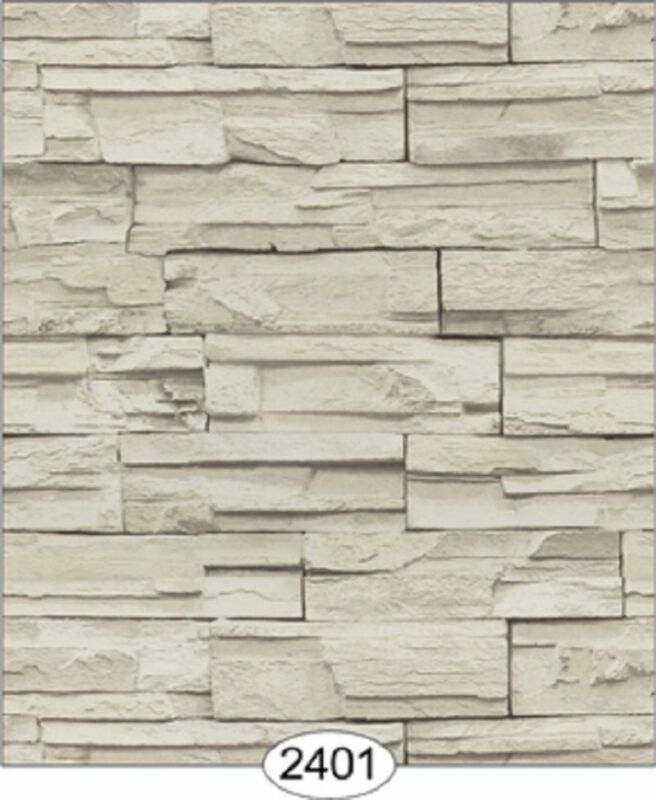 Dollhouse Wallpaper Travertine Blocks Grey
