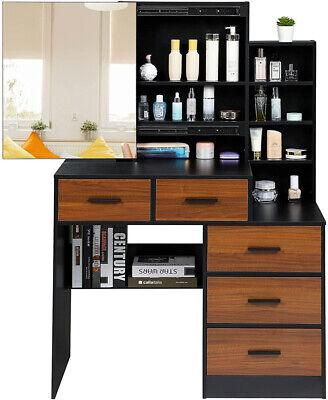 Makeup Vanity Table with Storage Cabinet Shelves Sliding Mirror dressing desk