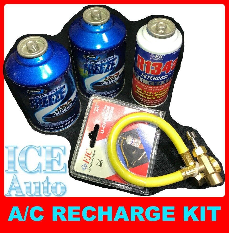 A/C RECHARGE KIT 2x Johnsens 134A Freeze Plus + 1x FJC Ester Oil Charge + Hose