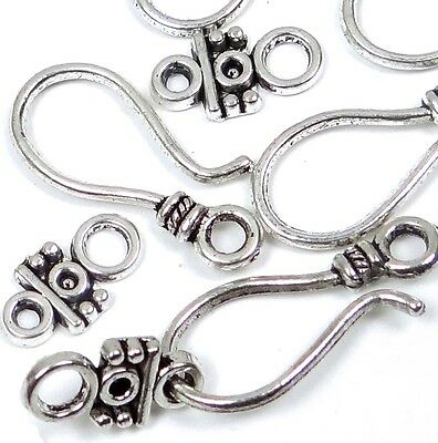 20 pcs / 10 sets Silver Pewter Hook Eye Clasps ~ Lead-Free