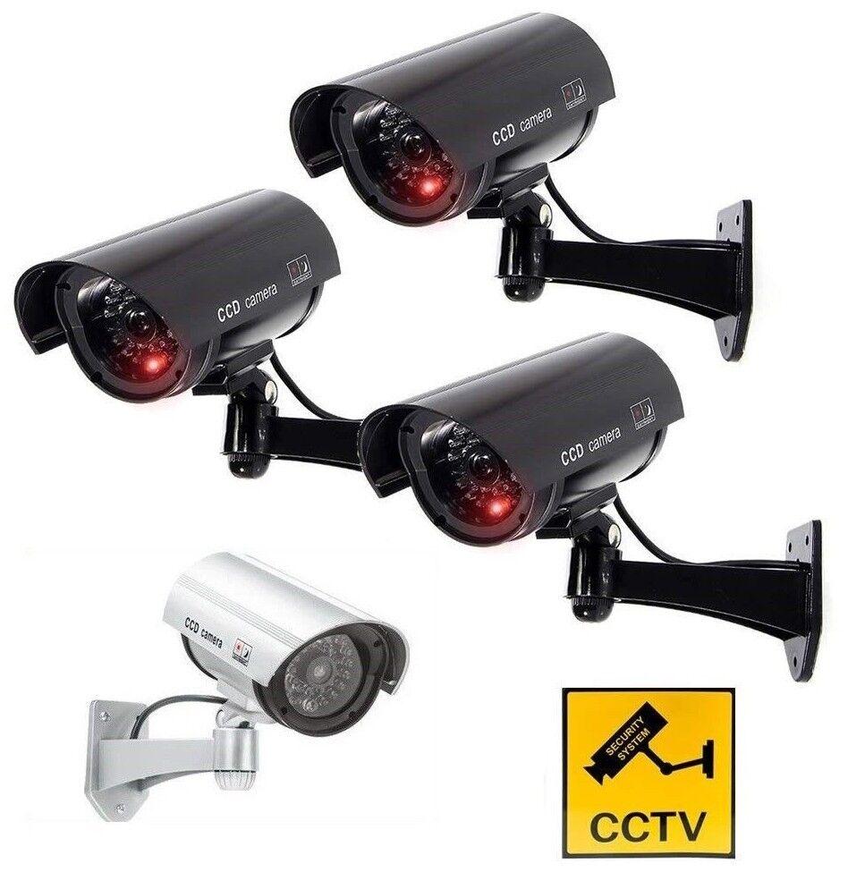 Camera Fake Led Outdoor Indoor Dummy Security Cctv Surveillance Red Cam Ir Lot S