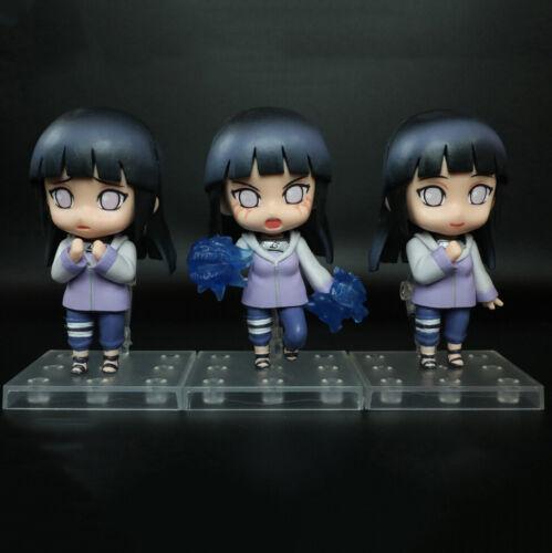 "3 pcs Anime Naruto Shippuden Hinata Hyuga 4"" Cute Q Action Figures Toy BULK"