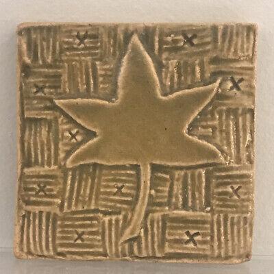 Mimi Strang Art Tile Handmade Pottery Maple Leaf Maple Leaf Tile