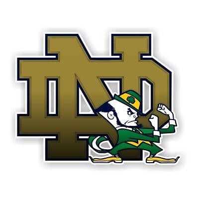 Notre Dame Fighting Irish (ND & Mascot) Precision Cut Decal / - Nd Fighting Irish