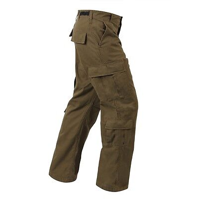 Mens Fatigue Pants - Russet brown Rothco military style paratrooper fatigue 8 pocket pants Mens 2XL