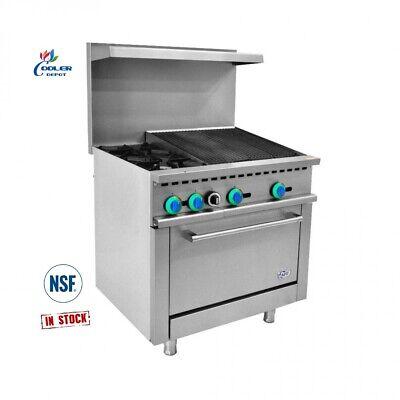 New 36 Broiler Hot Plate Oven Range Stove Commercial Kitchen Restaurant Nsf