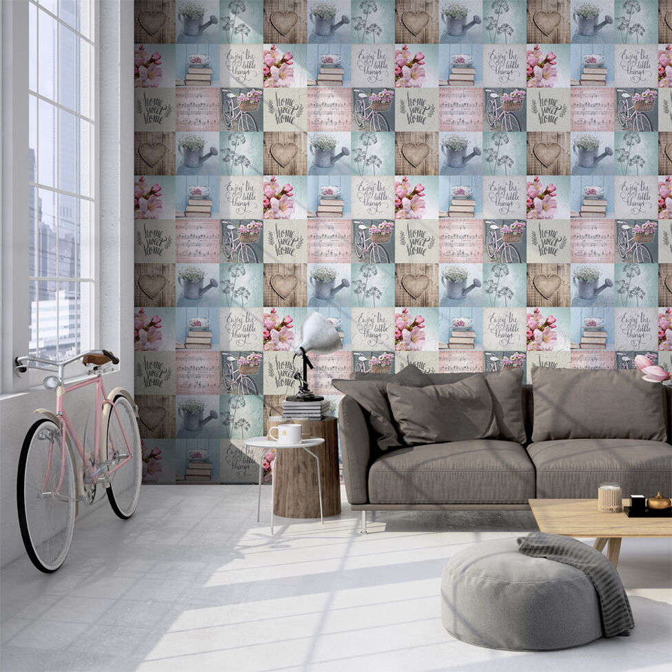 LAZY DAYS HOME SWEET HOME SHABBY CHIC BLUE PINK DESIGNER WALLPAPER ...